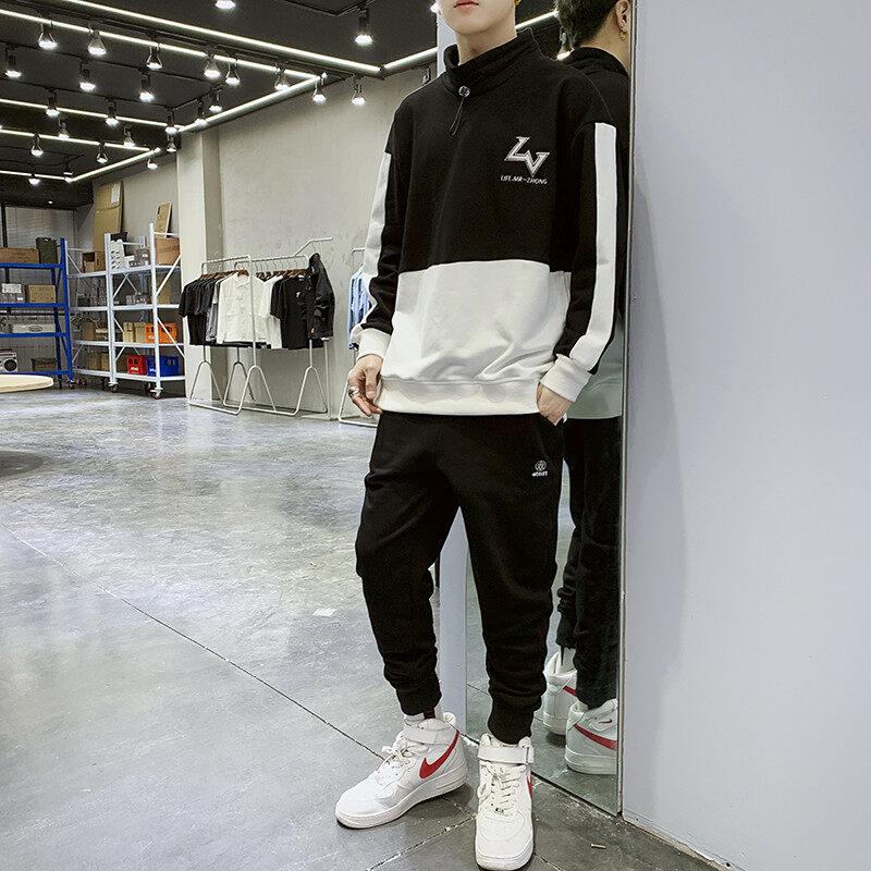 2060-7162020新款春秋款卫衣男休闲套装潮流韩版工装裤两件套