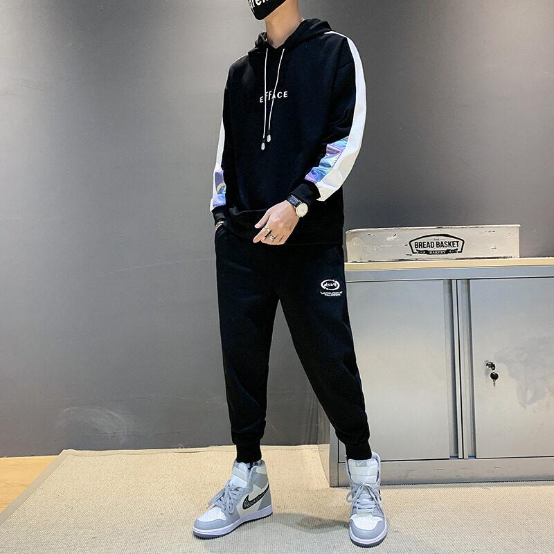 2113-825男士套装春秋季韩版潮流帅气一套搭配衣服学生休闲运动套装