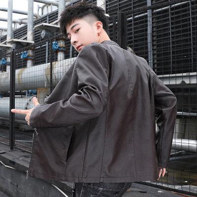 2020春季男士皮衣薄款外套青年韩版修身型男装短款立领PU皮