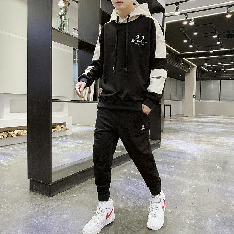2061-716春秋新款时尚韩版工装潮流休闲卫衣套装两件套