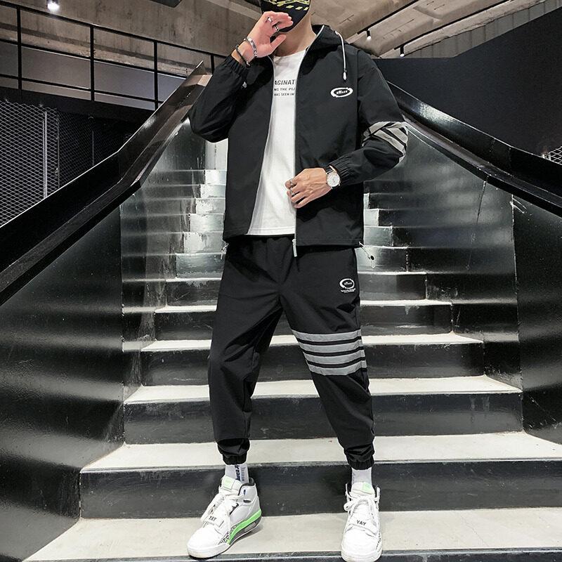 2089-821男士外套秋季套装2020新款韩版潮流运动休闲帅气夹克两件套