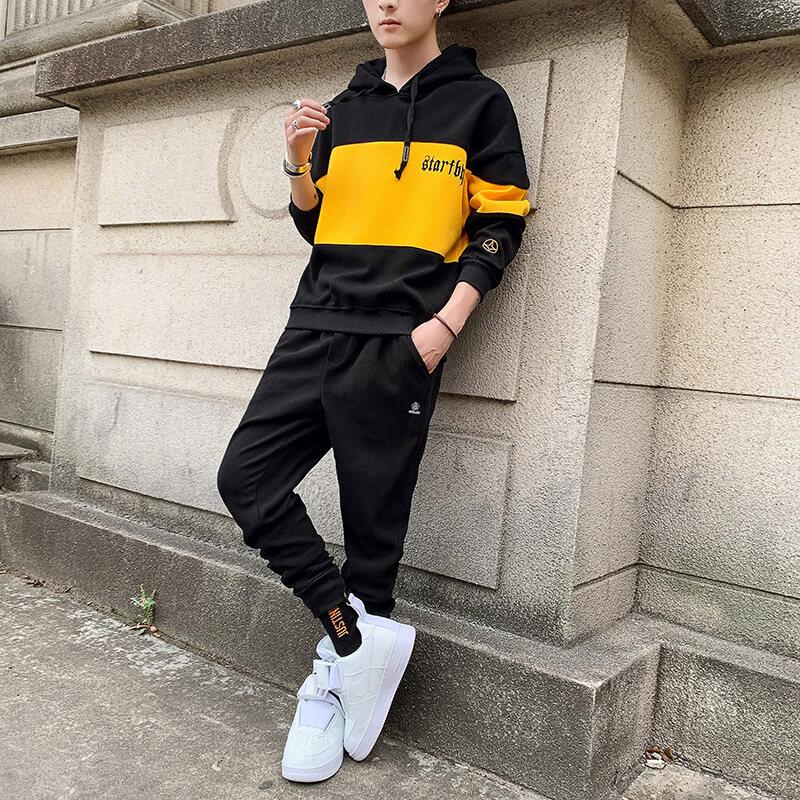9038-639男士套装春季韩版潮流帅气一套搭配衣服学生休闲运动套装