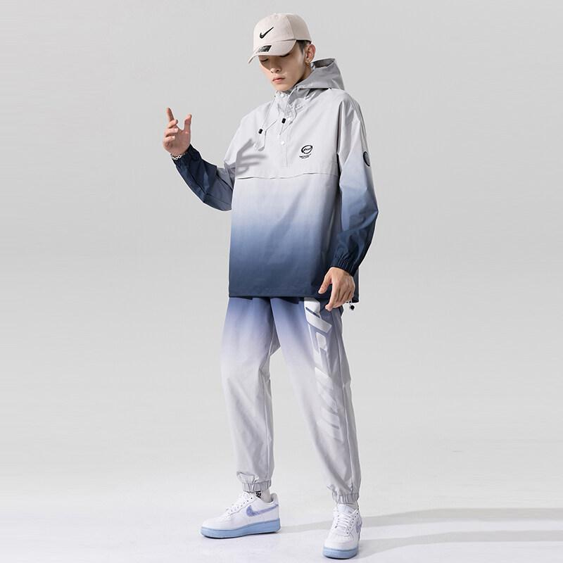 2111-818连帽套头套装男春秋季时尚运动套装2020新款潮搭休闲套装