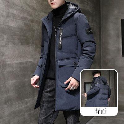 飞利亚2020男士新款冬季休闲帅气纯色连帽棉衣中长款保暖