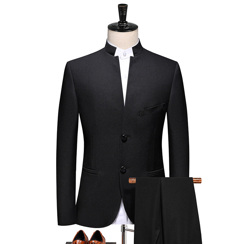 2065立领西装中国风男士休闲商务中式西服套装中山装 弹力料 2065P200