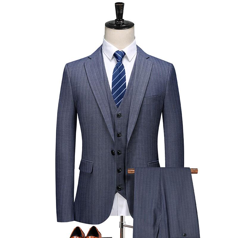 2005秋季新款竖条纹西装三件套 男士休闲西服套装潮 浅蓝 2005P270