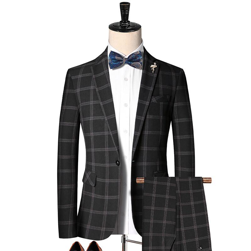 2010新款韩版英伦格子西装二件套 男士休闲西服套装潮 2010P220