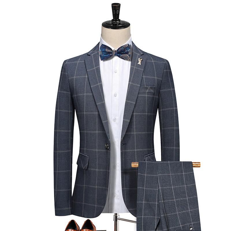 5585新款韩版英伦格子西装二件套 男士休闲西服套装 深灰 5585P220