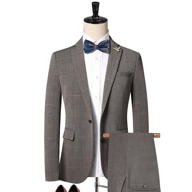 3200新款韩版英伦格子西装二件套 男士休闲西服套装 浅灰 3200P220