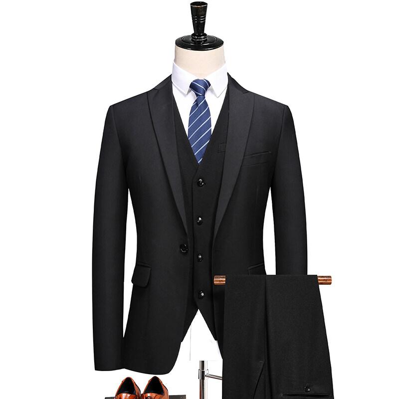 6629新品 戗驳领西装职业装正装 一粒扣西服套装 三件套 6629P200