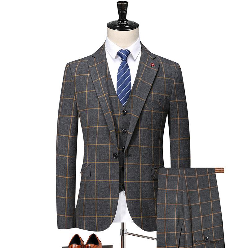 2062秋季时尚黄格子西装三件套 男士休闲双开叉西服套装潮 2062P270
