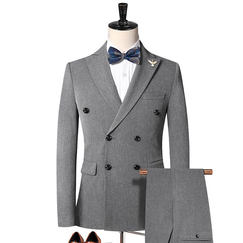 2000弹力色织面料 西装双排扣二件套 男士修身休闲西服套装 2000P210