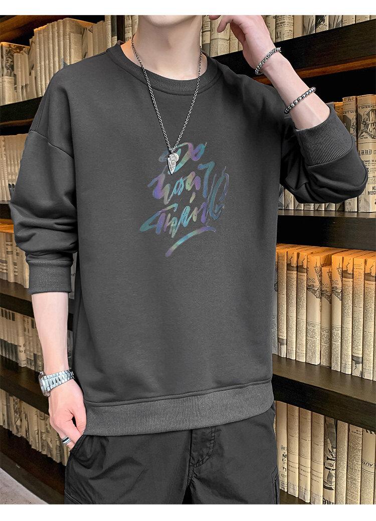 55232020新款秋装秋季长袖T恤男卫衣打底衫男士圆领套头卫衣男