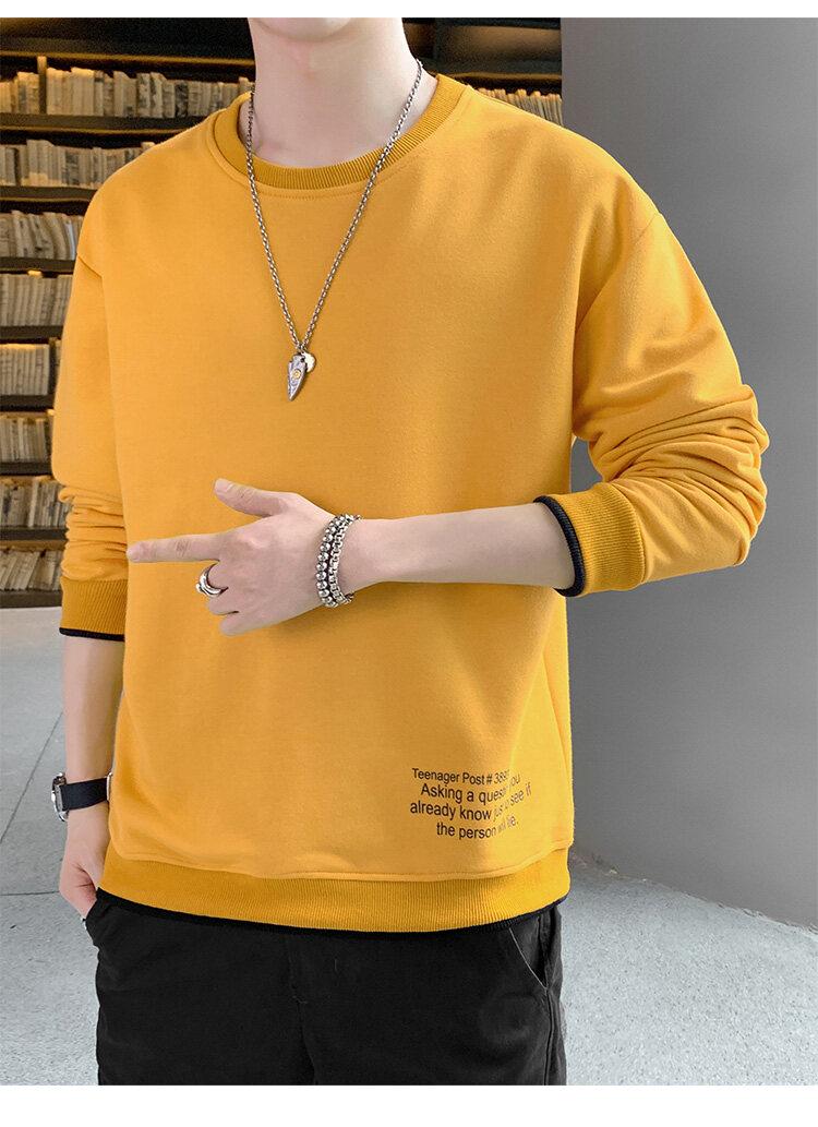 55272020新款秋装秋季长袖T恤男卫衣打底衫男士圆领套头卫衣男