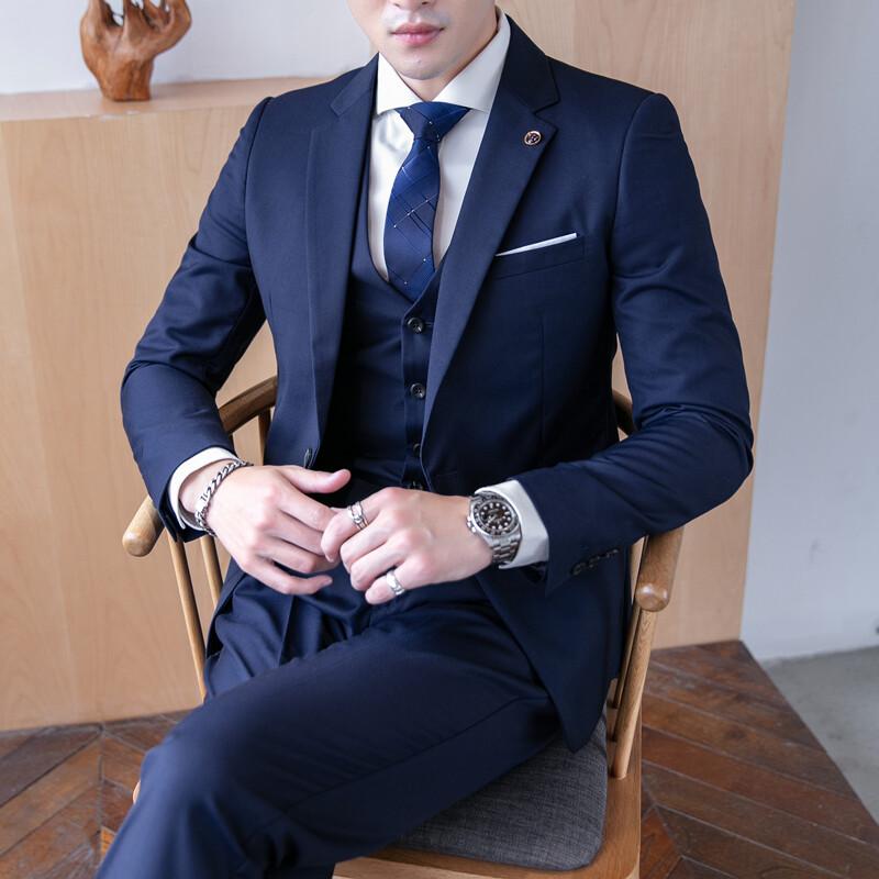 2008#西装西服套装男士三件套韩版修身小西装职业正装两件套新郎结婚礼服