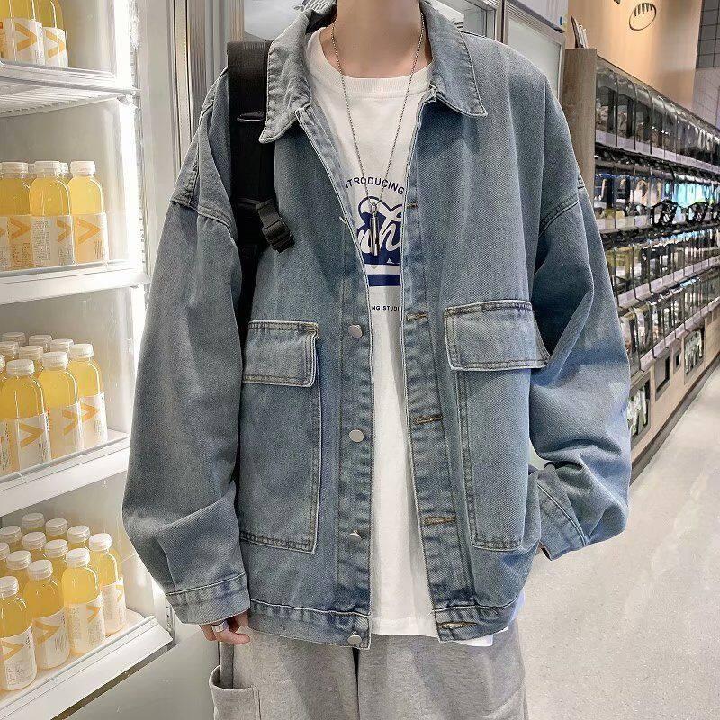 牛仔外套男韩版宽松青年百搭外穿上衣服日系复古潮流男装夹克褂子