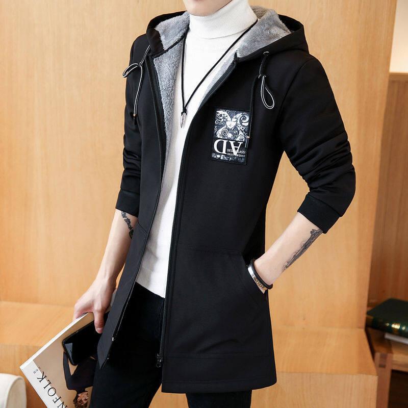 秋冬外套男加绒加厚风衣韩版潮流中长款夹克青少年学生棉衣服大码
