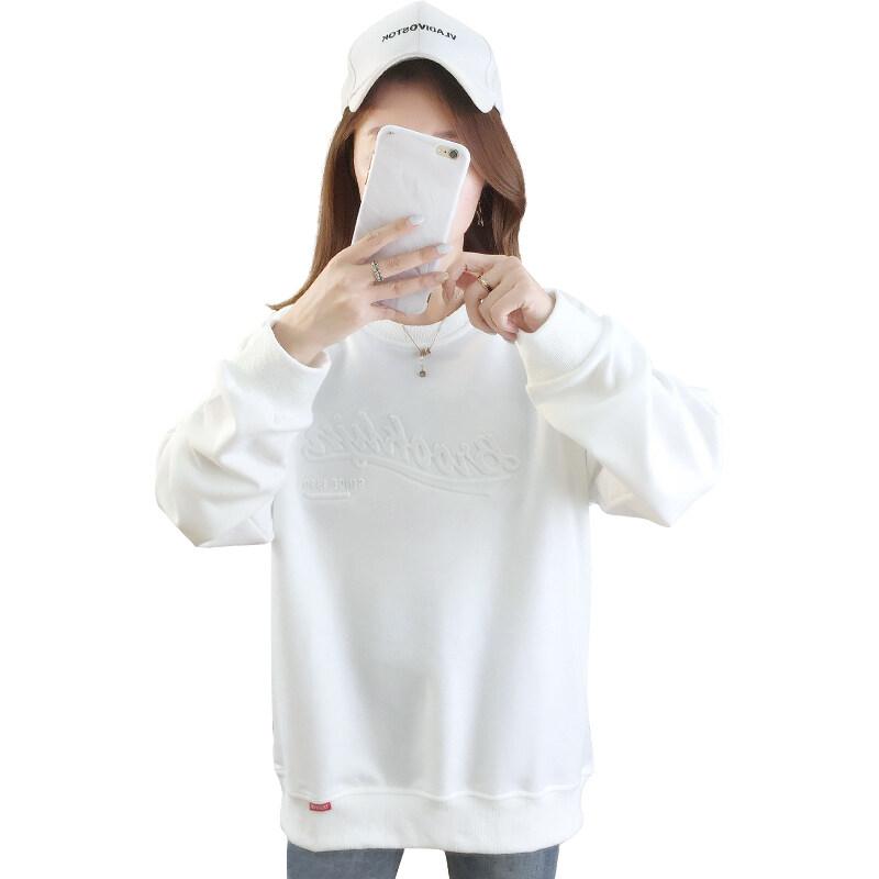 5511现货代发2020秋冬季宽松大码印花薄款圆领卫衣女