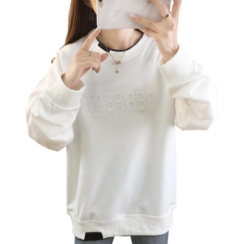 5512现货代发2020秋冬季宽松大码印花薄款圆领卫衣女
