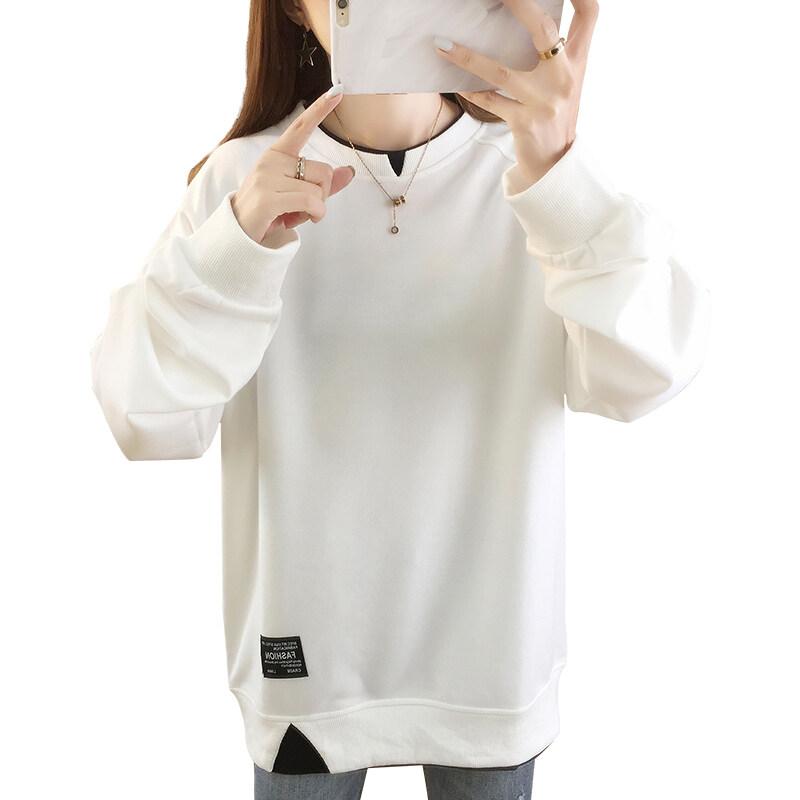 5516现货代发2020秋冬季宽松大码印花薄款圆领卫衣女