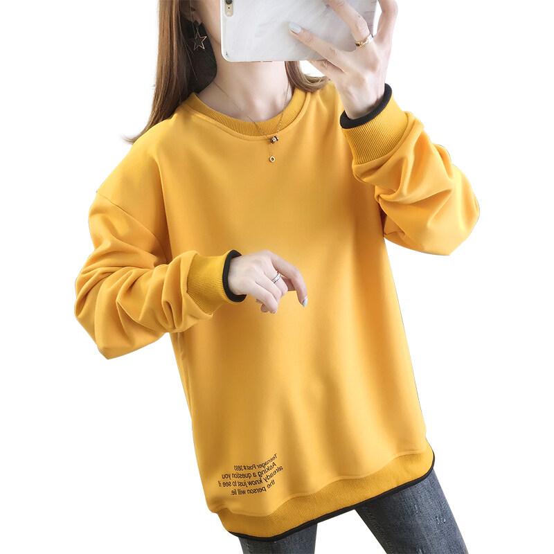 5527现货代发2020秋冬季宽松大码印花薄款圆领卫衣女