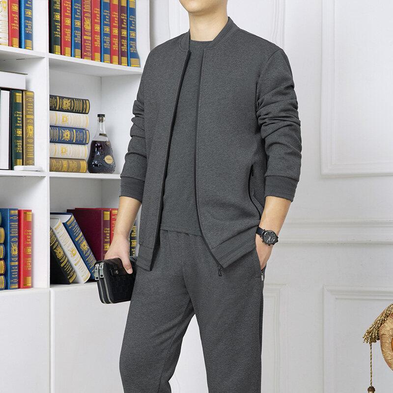 BX1818 2020新款秋冬中老年棉质棒球领运动套装休闲爸爸装两件套