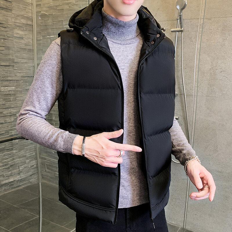 M8613款男士马甲冬季男装棉衣青年大码外穿背心韩版修身连帽休闲冬装外套