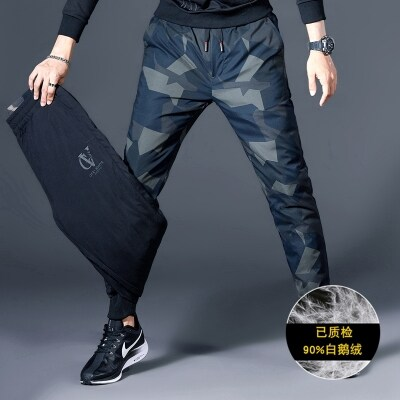 精品迷彩羽绒男裤90%白鹅绒,男士休闲裤加厚保暖棉裤(微弹两面穿