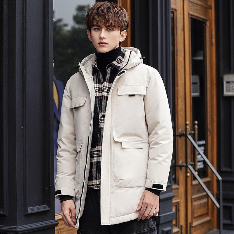 YR618172020新冬季外套羽绒服男中长款修身潮牌青年加厚过膝爆帅派克