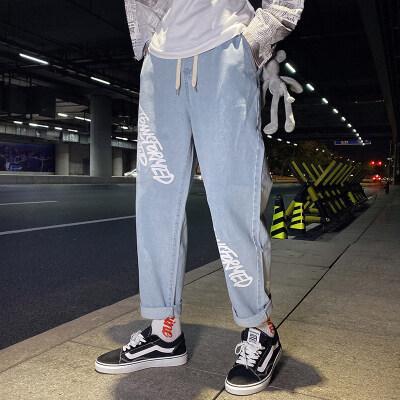 新款牛仔裤男宽松直筒韩版潮流原宿风坠感港风阔腿裤子K8003-P45