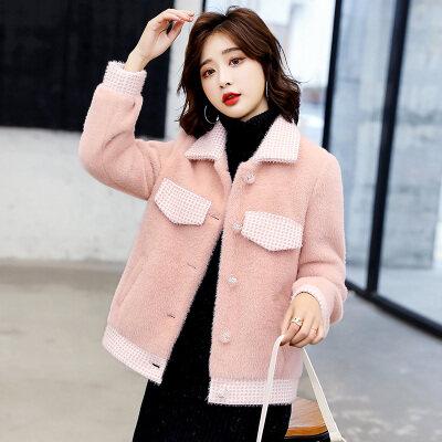 2020新款秋冬仿水貂绒外套女短款小个子韩版加厚毛呢子衣宽松