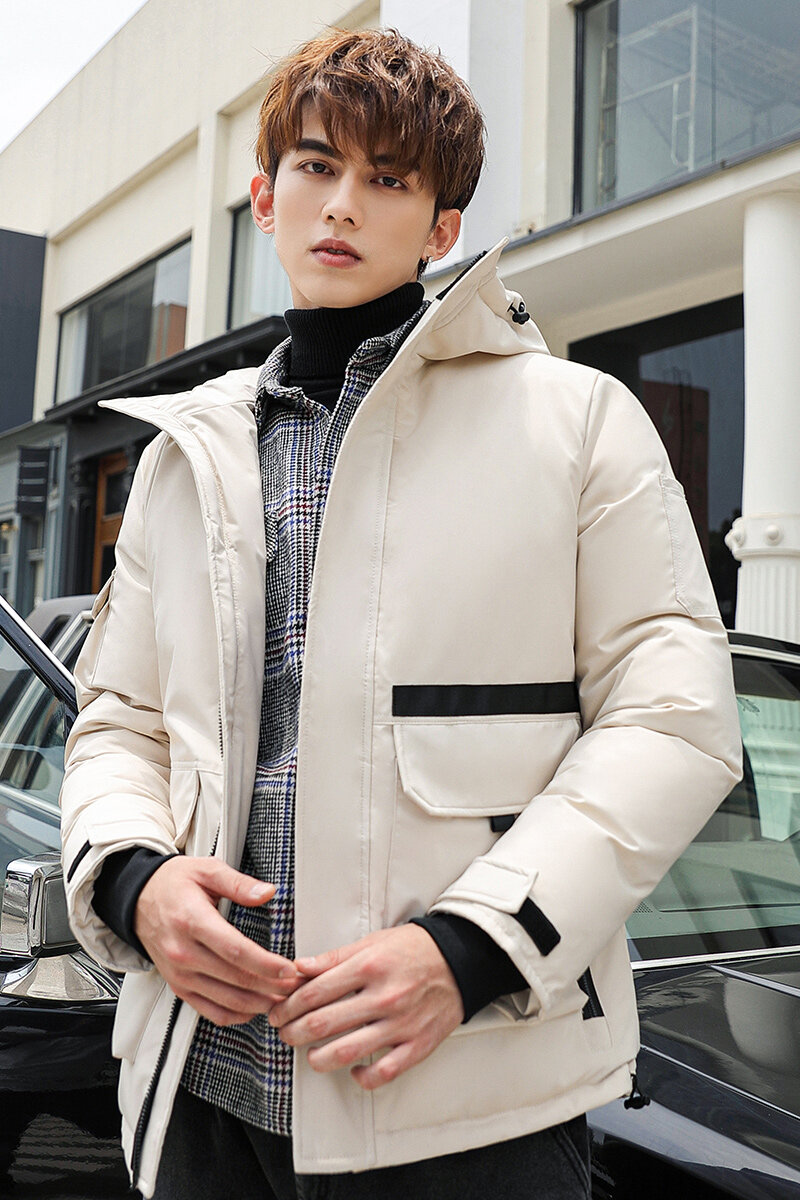 YR62058款2020新款男士冬季大毛领情侣工装潮流羽绒服短款户外加厚外套