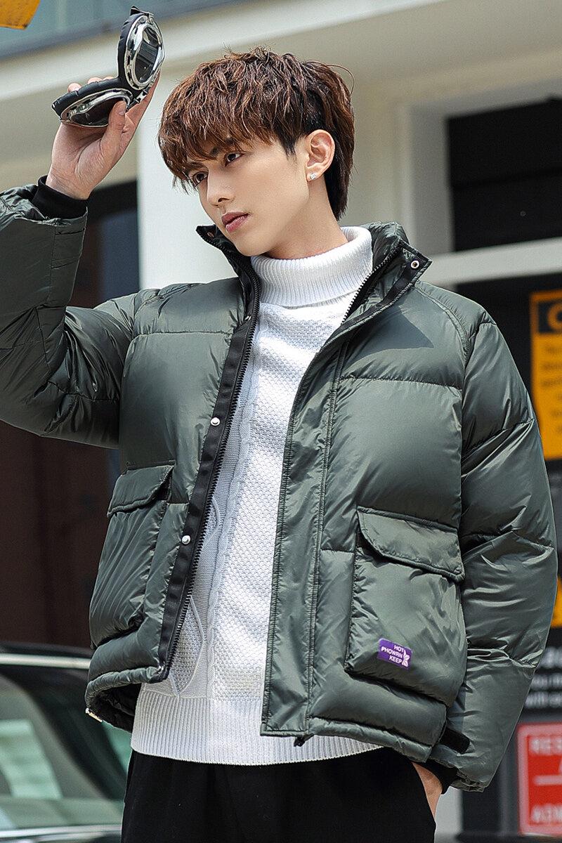 YR62085 羽绒服男2020新款韩版潮流帅气亮面冬季鸭绒加厚短款立领男