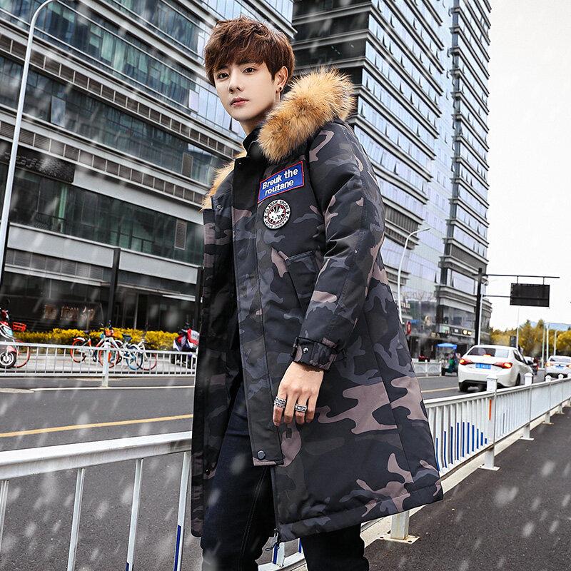 356冬季羽绒服男士中长款韩版加厚青年毛领连帽休闲外套上衣