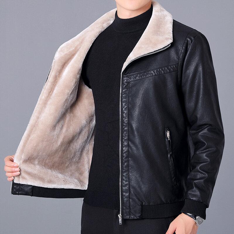 089男士皮毛一体短款加厚皮夹克男保暖冬季皮外套中老年加绒皮衣男