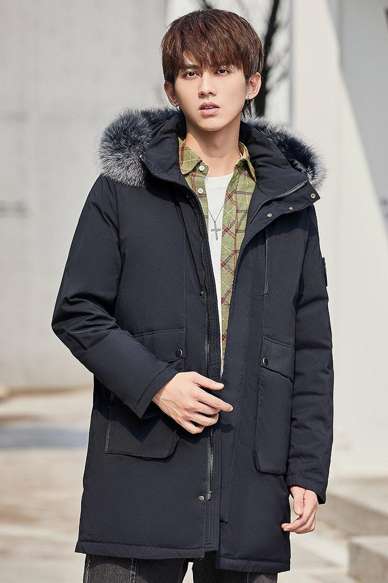 YR621092020冬季新款男装中长款白鸭羽绒服男士韩版潮流加厚外套毛