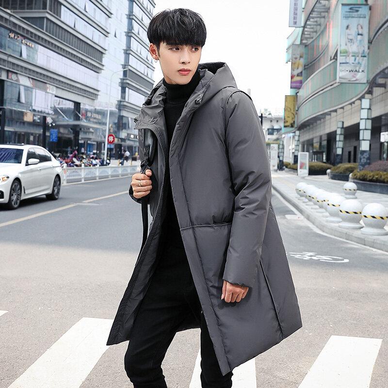 YR67805-992020冬季新款男装中长款白鸭羽绒服男士韩版潮流加厚外套毛