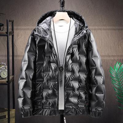 冬季新款亮面连帽轻薄羽绒服男款韩版潮流加厚80%白鸭绒外套男