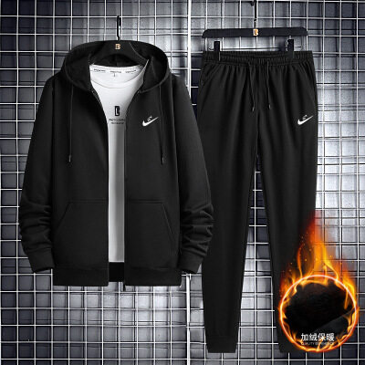 开衫套装男加绒两件套冬季新款男士韩版修身印花连帽百搭卫衣长裤