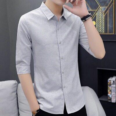 秋长袖衬衫男士衬衣韩版潮流修身纯色半截七分袖帅气中袖男装446