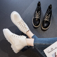 马丁靴女英伦风软底绑带靴子2020新款春秋百搭真皮短靴女高帮