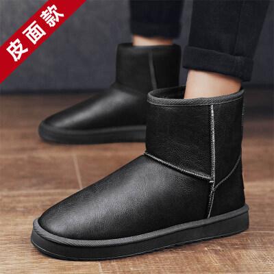 涌哥★718 【皮面升级款】 雪地靴男鞋潮鞋棉鞋高帮加毛保暖
