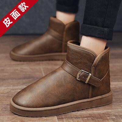 涌哥★714 【皮面升级款】 雪地靴男鞋潮鞋棉鞋高帮加毛保暖