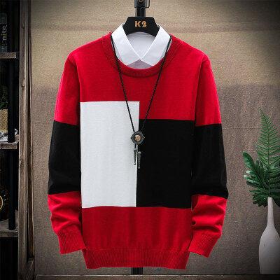 秋季男士毛衣红色青年休闲圆领套头兔毛修身型青少年长袖打底衫潮