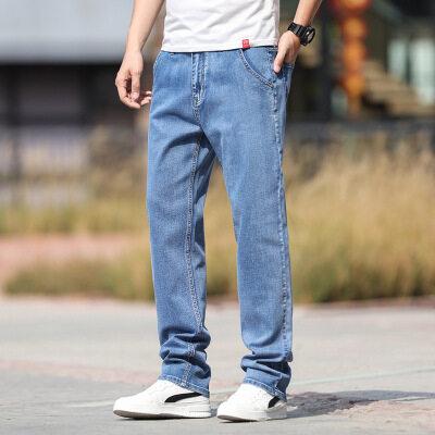 夏季薄款浅色男式牛仔裤宽松大码直筒阔腿裤弹力青年百搭牛仔长裤