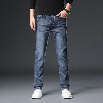 2020春秋牛仔裤韩版直筒修身中腰男式牛仔裤大码弹力青年牛仔男裤
