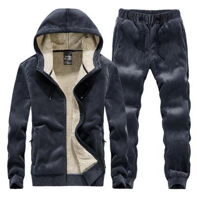 男式休闲套装长袖加绒加厚冬季连帽卫衣套装时尚男士两件套