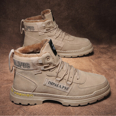 涌哥★MK651 冬季加绒高帮棉鞋马丁靴工装靴机车靴男鞋潮鞋
