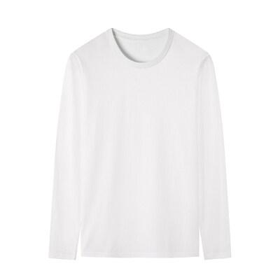 (赠品T恤160克重厚)2020秋季新款长袖T恤男纯白色圆领大货跑量