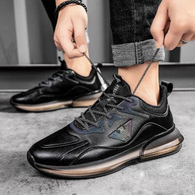 意大利阿玛尼真皮男性商务休闲皮鞋时尚英伦风男士透气运动鞋